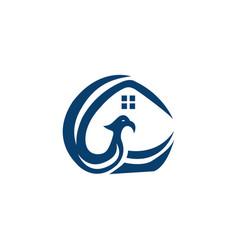 Phoenix home logo design vector