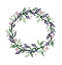 Pixel flower image cross stitch or crochet vector