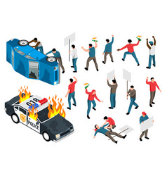 Protest action icons set vector