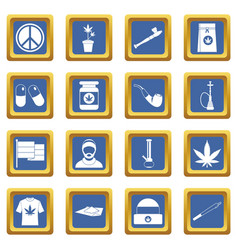 Rastafarian icons set blue vector