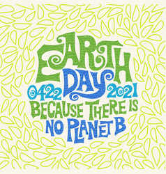 retro design for earth day hand drawn lettering vector image