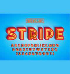 Retro led stripe font design letters and numbers vector