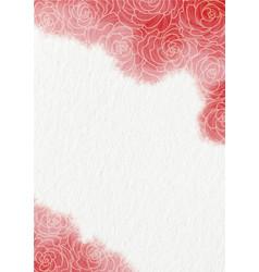 rose flower doodle on red watercolor frame vector image