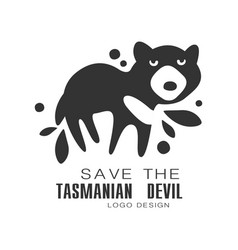 Save the tasmanian devil logo design protection vector