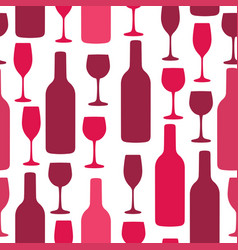 Seamless background with wine bottles and glasses vector