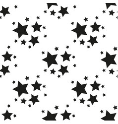 seamless pattern with black stars on a white vector image
