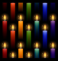 seamless pattern with rainbow burning candles on a vector image