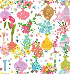 seamless texture with cute collection vases of vector image vector image