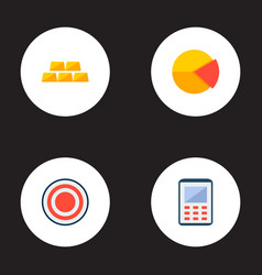 Set of commerce icons flat style symbols with pie vector
