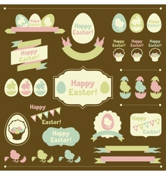 Set of Happy Easter ornaments and decorative vector image