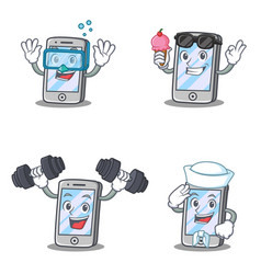 Set of iphone character withice cream diving vector
