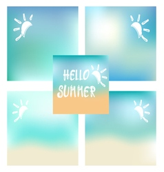 Set of summer beach background and white text Hell vector image