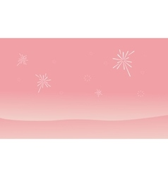 Silhouette of dessert and firework landscape vector image