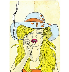 Smoker Beauty with a cigarette vector