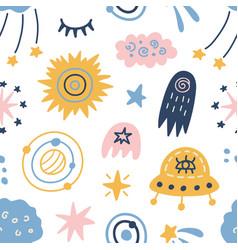 Space galaxy childish seamless pattern vector