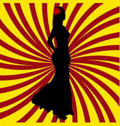 spanish girl silhouette over spanish flag vector image