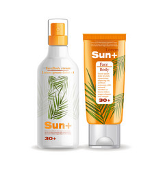sun cream and lotion protection isolated vector image