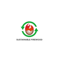 sustainable firewood logo vector image