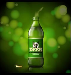 template for beer advertisement open bottle vector image