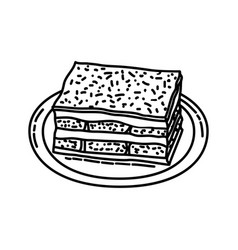 Tiramisu icon doodle hand drawn or outline icon vector