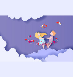 valentines day card romantic young couple holding vector image