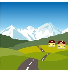 Village in mountain vector image