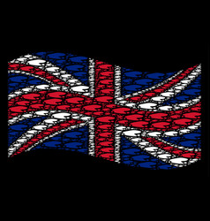 Waving great britain flag pattern of puddle items vector