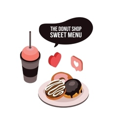 Delicious food coffee tea cup and dessert donut vector