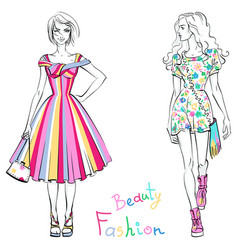 fashionable girls in summer dresses vector image vector image