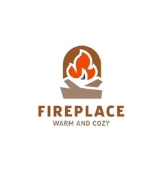 fire in the fireplace with firewood logo vector image