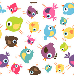 seamless pattern with funny birds vector image