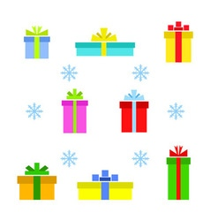 set of different gift boxes and snowflake vector image