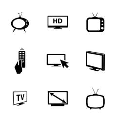 black TV icons set vector image