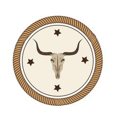 Bull skull wild west icon vector