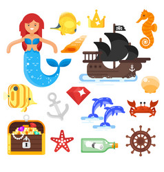 flat style set of sea life icons vector image vector image