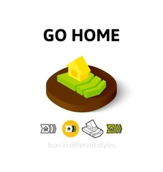 Go home icon in different style vector image