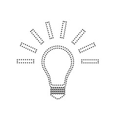 light lamp sign black dotted icon on vector image