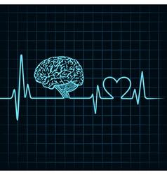 Medical technology concept heartbeat make a brain vector image vector image