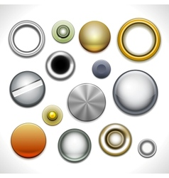 Metal buttons and rivets vector image vector image