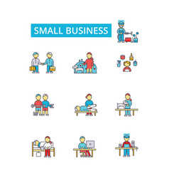 Small business thin line icons vector