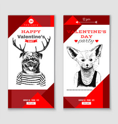 valentines day vertical banners vector image vector image