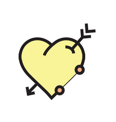 arrow on heart icon yellow vector image