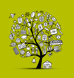 back to school art tree for your design vector image vector image