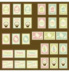 Happy Easter postage retro set vector image
