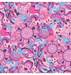 Pink blue pattern with bird Phoenix and sunflower vector image vector image