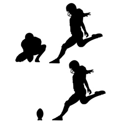 place kick field goal silhouettes vector image