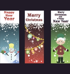 Set of three funny christmas cards vector image vector image