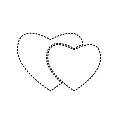 two hearts sign black dashed icon on vector image
