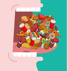 widely open mouth lot of food absorption of feed vector image vector image