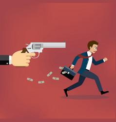 businessman running away from gunman vector image vector image